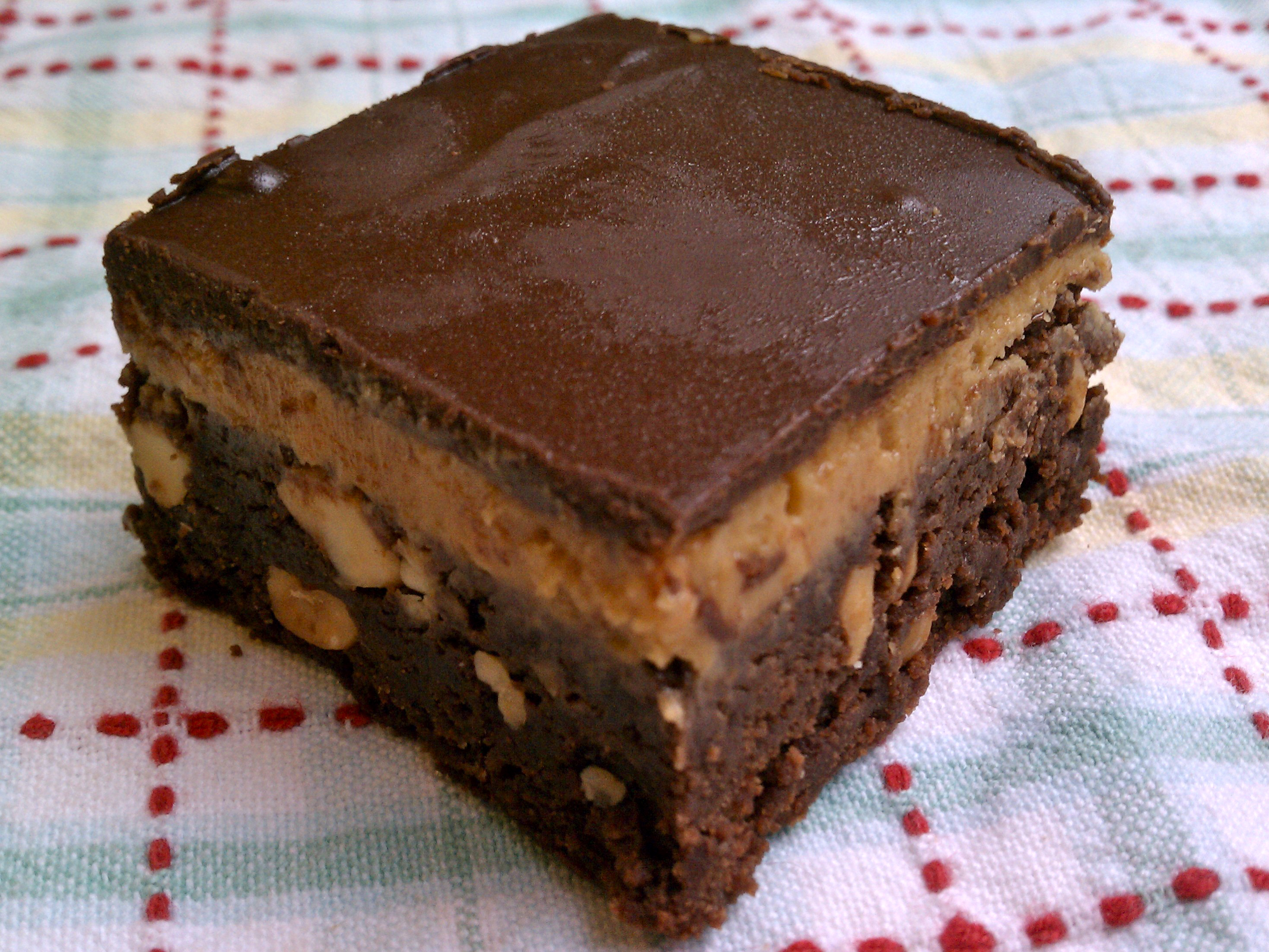 Fudgy Peanut Butter Brownies with Salted Peanuts